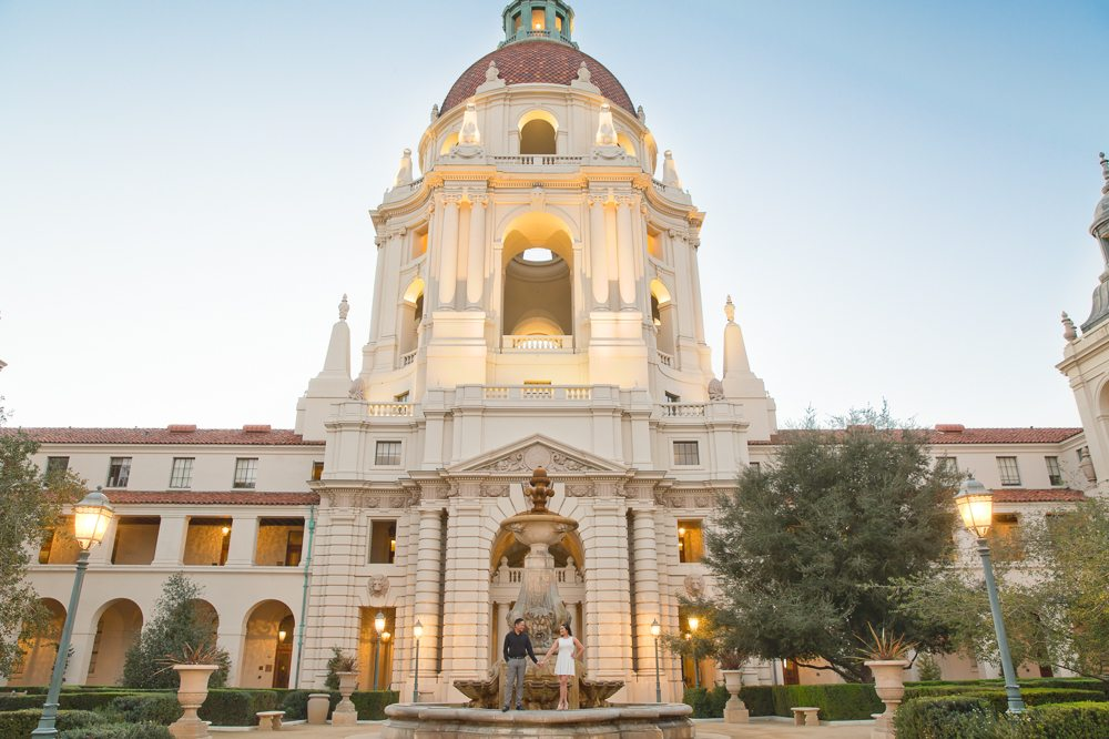 couple standing in front of pasadena city hall