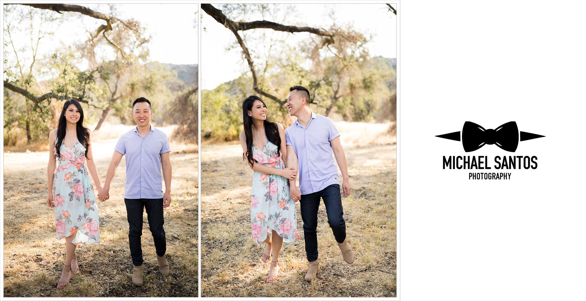 couple holding hands while walking at their caspers wilderness park engagement photography session
