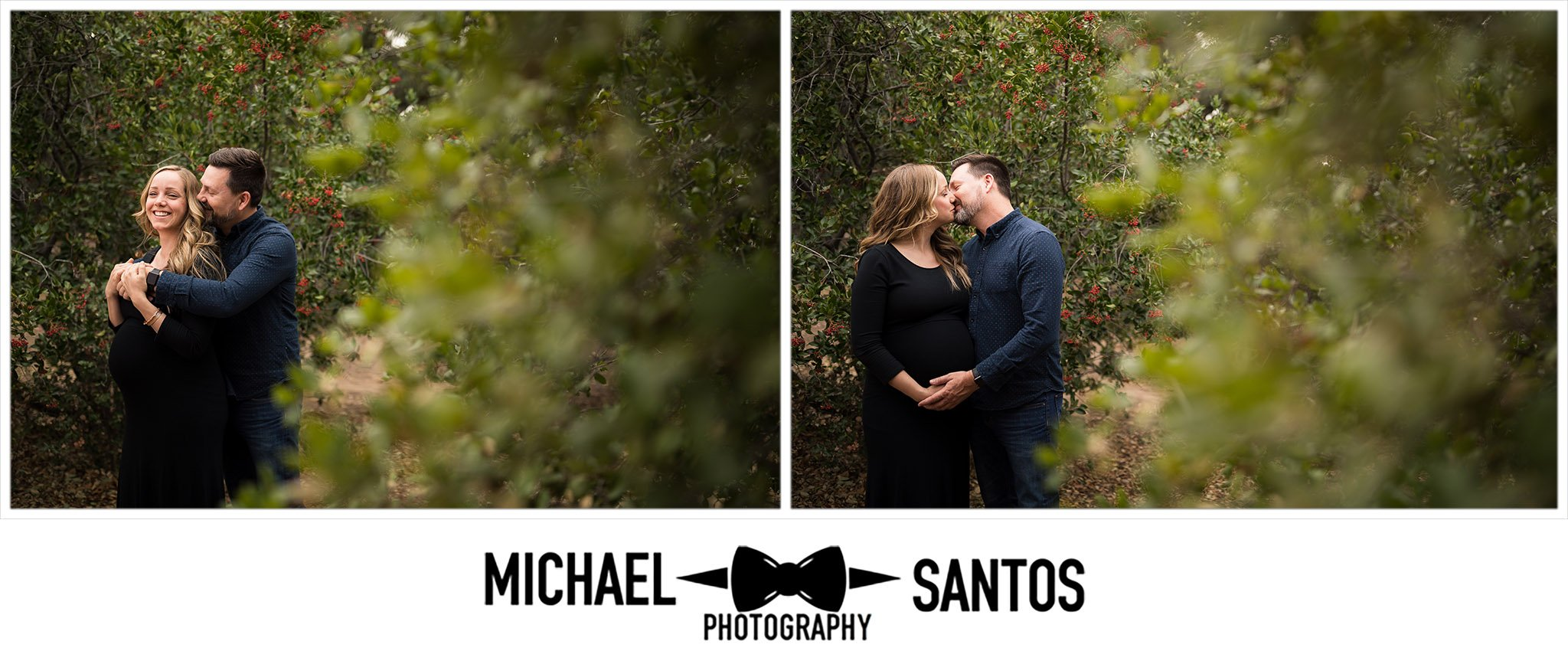 husband hugging expecting wife in a tree grove during their irvine regional park maternity session